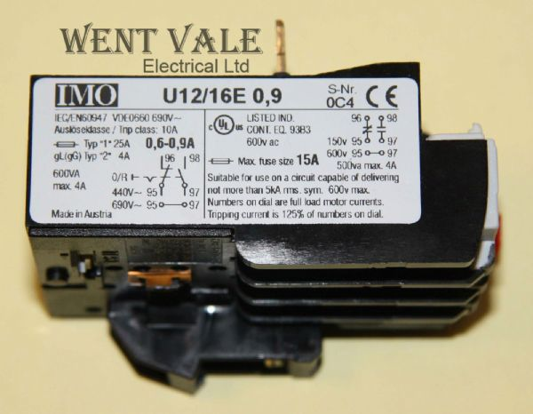 IMO OL01C - U12/16E 0.9. - 0.6 to 0.9 amp Thermal Overload Relay Un-used.